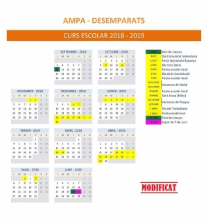 Modificació del calendari escolar